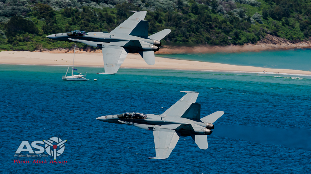 Australia Day F/A-18 Hornet fly over.