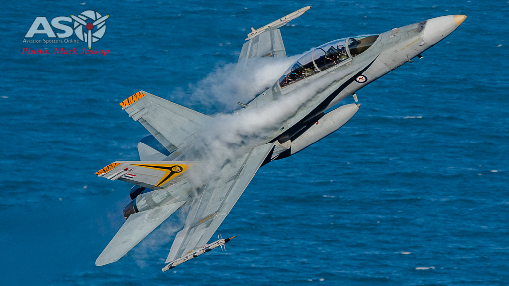 2OCU F/A-18B Hornet launching up.