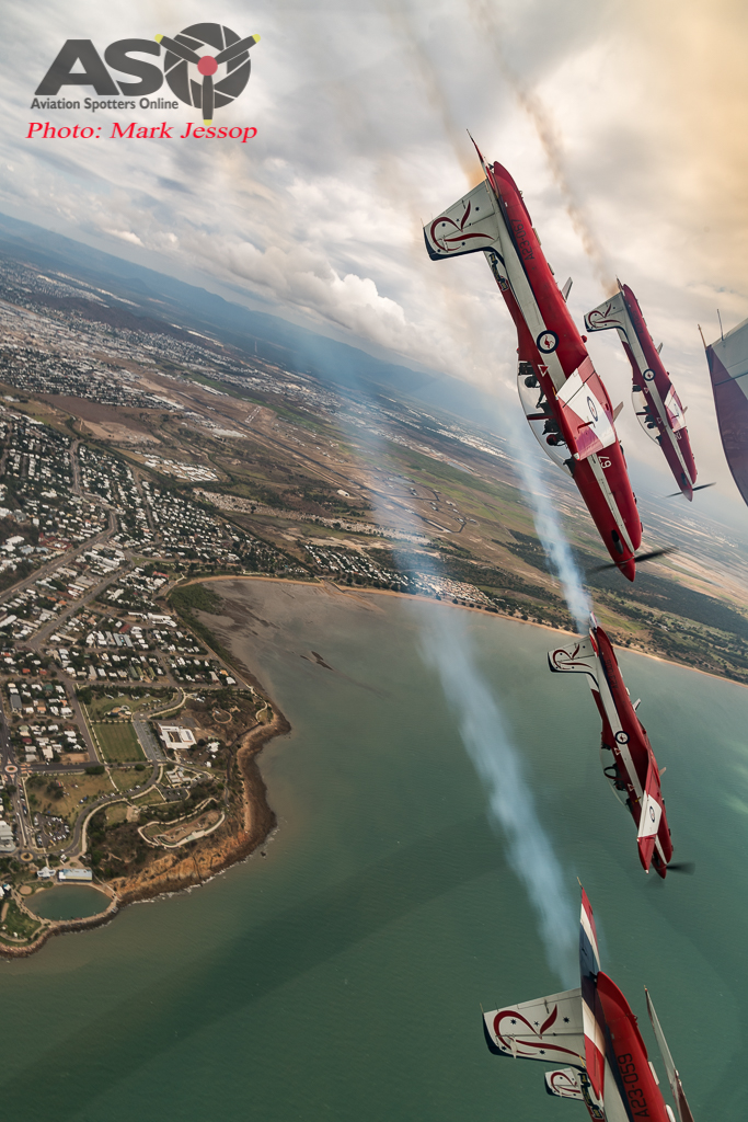 RAAF Roulettes looping over Townsville.