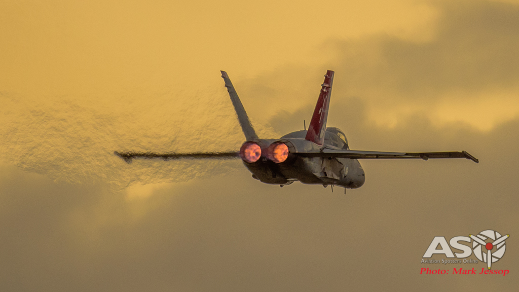 F/A-18A Hornet A21-35 with the after burners lit and about to pull up.