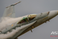 "F/A-18A Hornet A21-35 with smashing ""ecto\"" off the leading edge."