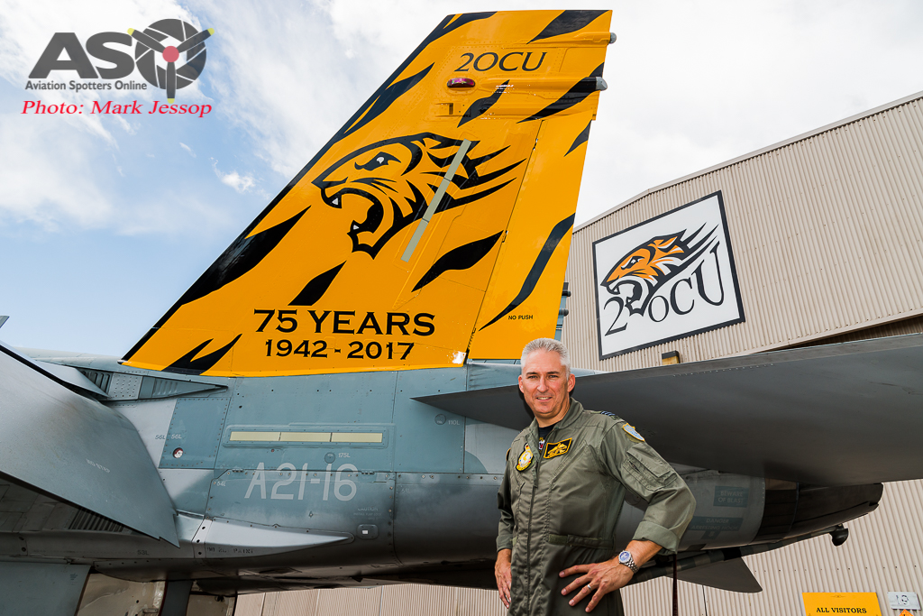 "2OCU 75th anniversary roll out A21-16 and 2OCU CO WGCDR Scott ""Woody"" Woodland."