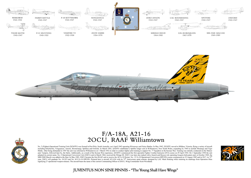 RAAF 2OCU Lithograph 2017 75th Anniversary Tail.