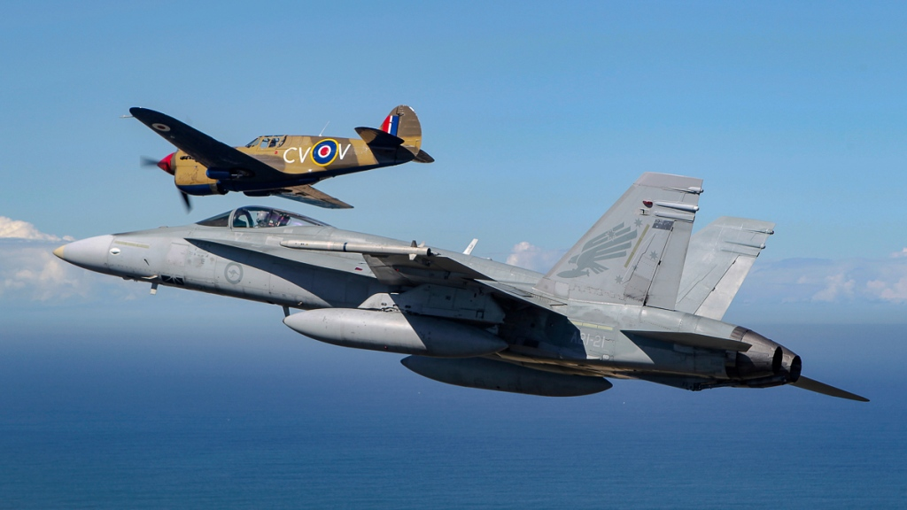 F/A-18A Hornet 3SQN A21-21 and P-40E CV-V @CoA. Credit RAAF Official
