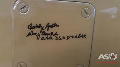 "3SQN CO ""Bobby"" Gibbes signature on the P-40."