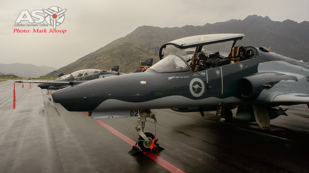 RAAF Hawks at Queenstown airport in the rain. A21-02, A21-01,A21-23,A21-20