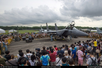 Crowd fascinated by the F-15SG arming demonstrations