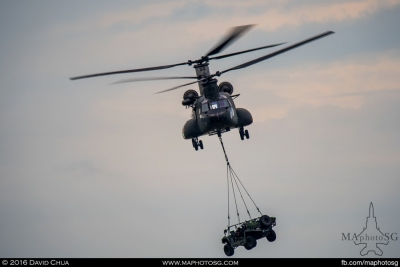 CH-47D Chinook with underslung Light Strike Vehicle