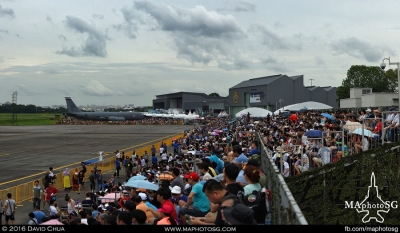 Spectators on Grandstand waiting for the Operational Capabilities Demonstration