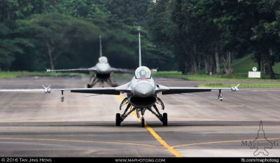 2 F-16Cs Taxi from shelters to position for the demonstration