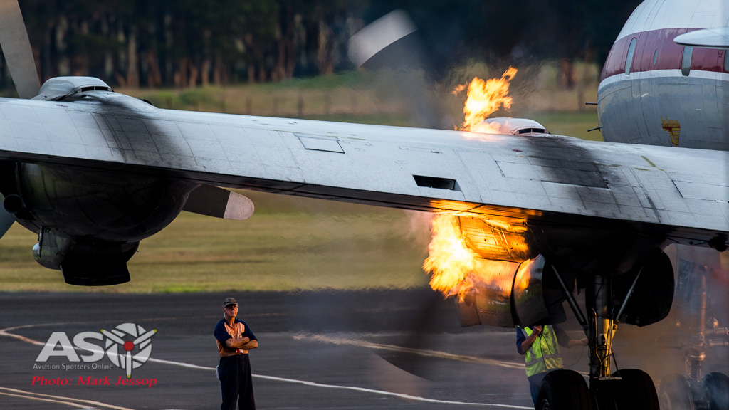 The Connie firing up