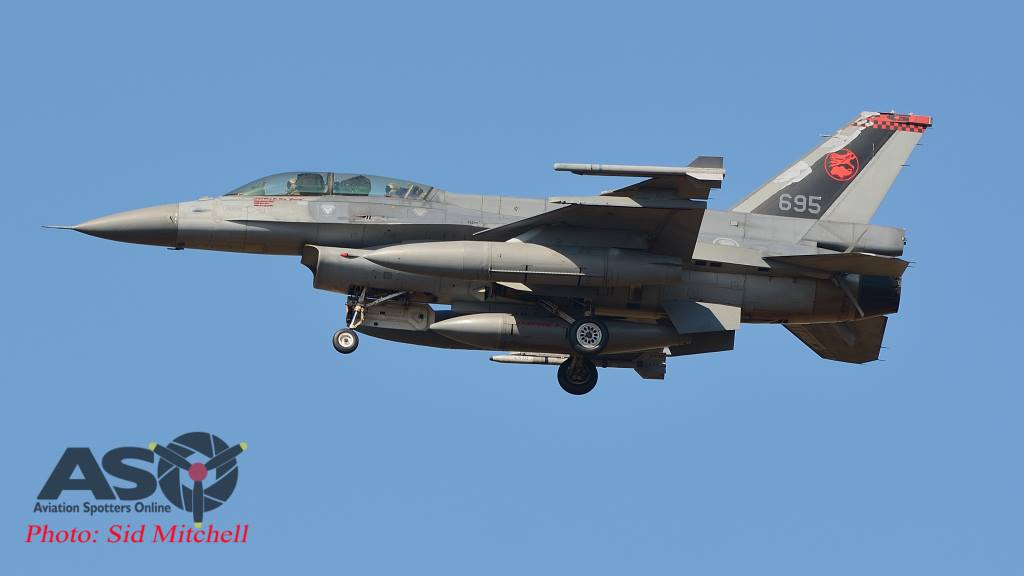 RSAF F-16D returning to base