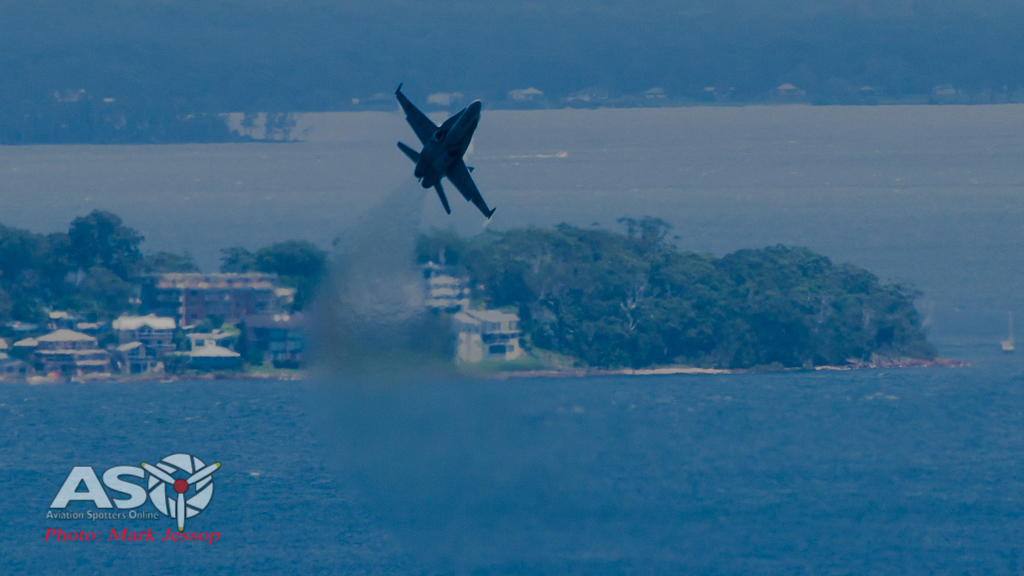 RAAF F/A-18 Hornet over Nelson Bay.