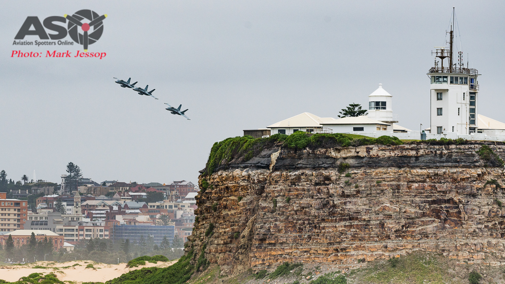RAAF F/A-18A Hornets Australia Day 2017 coming in over Nobby's Beach.