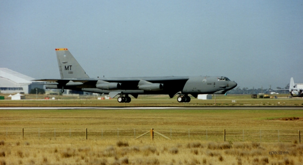 First arrival of B-52H at Avalon 1999