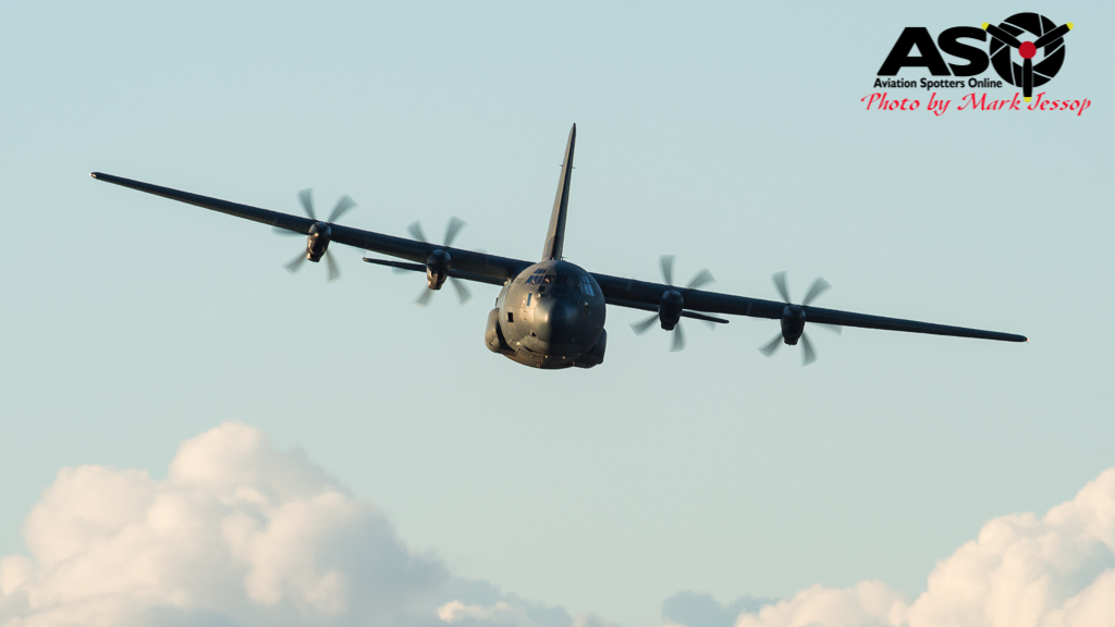 C-130J-30 Hercules on the run in.