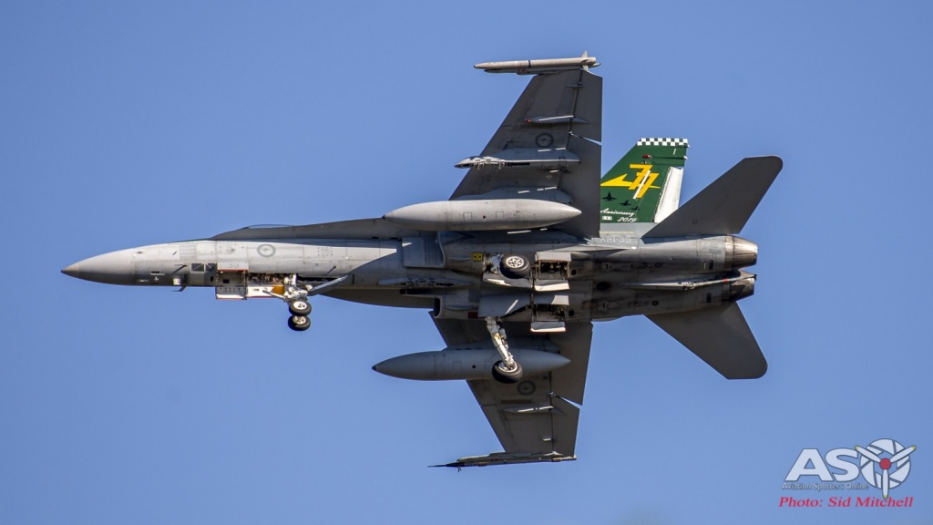 RAAF F/A-18A Hornet A21-39 from No. 77 Squadron with anniversary tail