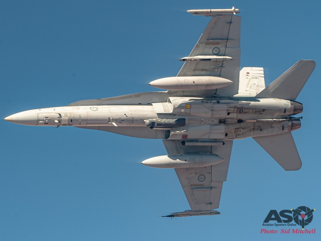 F/A-18A Classic Hornet A21-6 breaking away after air-to-air refuelling