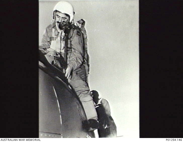 WING COMMANDER R C Cresswell DFC, Stepping out of the first CAC Avon Sabre to arrive at RAAF Base Williamtown.