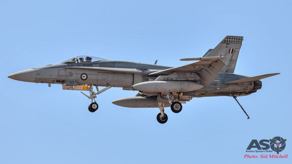 RAAF F/A-18A A21-30 with hook down