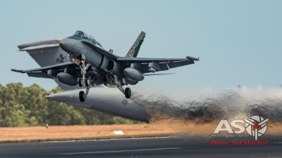 RAAF F/A-18A Hornet launching into action.