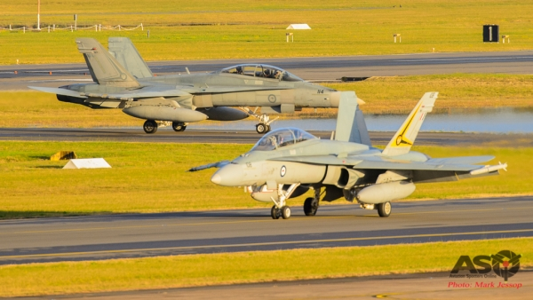 F/A-18B A21-108 & A21-114 2OCU taxing back
