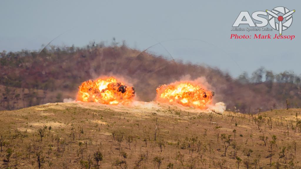 2 x 1000lb HE Bombs impact the target.