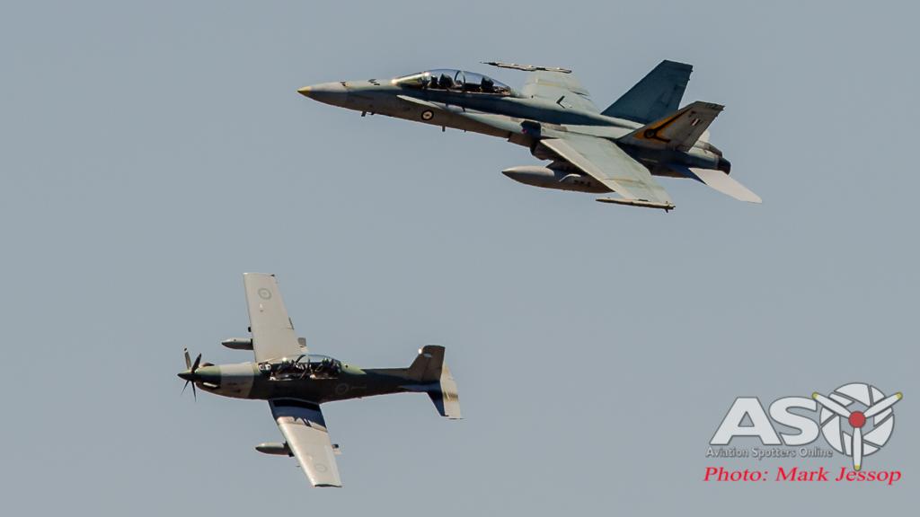 F/A-18B Hornet A21-108 2OCU & PC-9 FAC A23-031 4SQN.