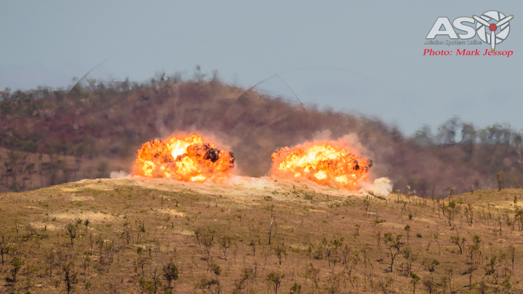 2x MK83 Low Drag High Explosive impacts on the Target.