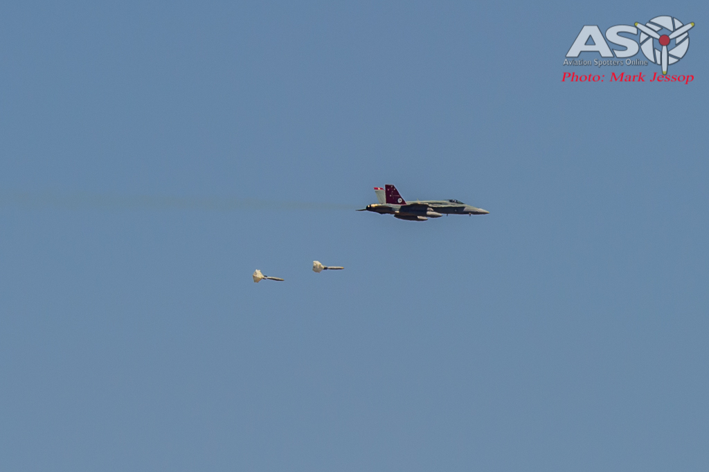 F/A-18A Hornet A21-35 dropping 2x MK83 Low Drags HE Bombs.