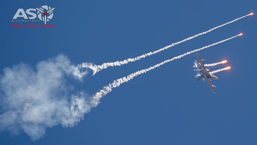 RAAF F/A-18 F Super Hornet punching flares.