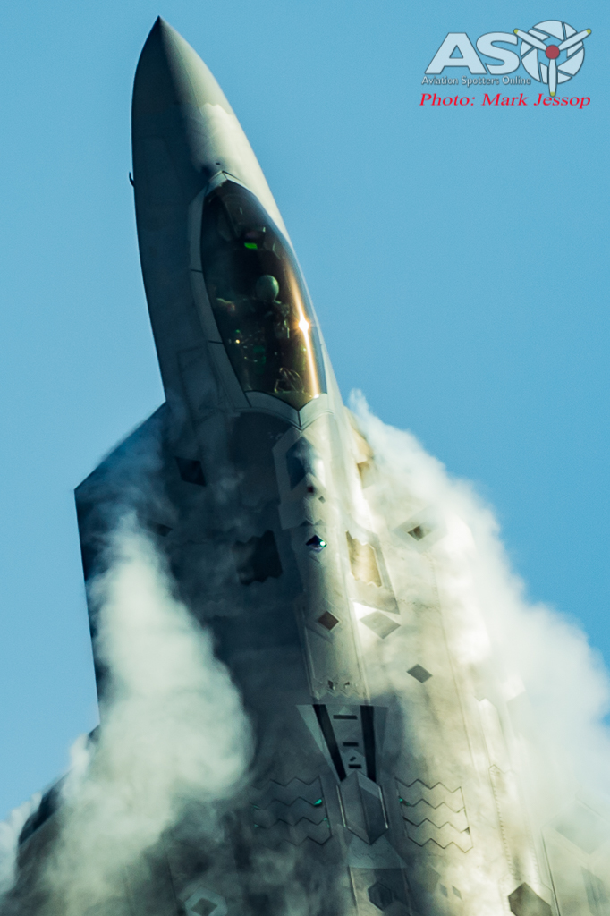 USAF F-22 launching into it's display.