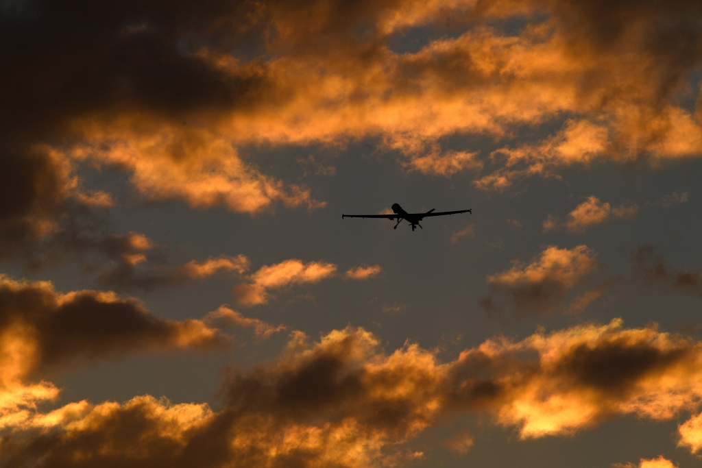 An MQ-9 Reaper flies a training mission, Feb. 14, 2018, at Creech Air Force Base, Nev. Airmen were able to seamlessly transition between platforms, which prevented a loss of MQ-9 capabilities for combatant commanders. (U.S. Air Force photo by Senior Airman James Thompson)