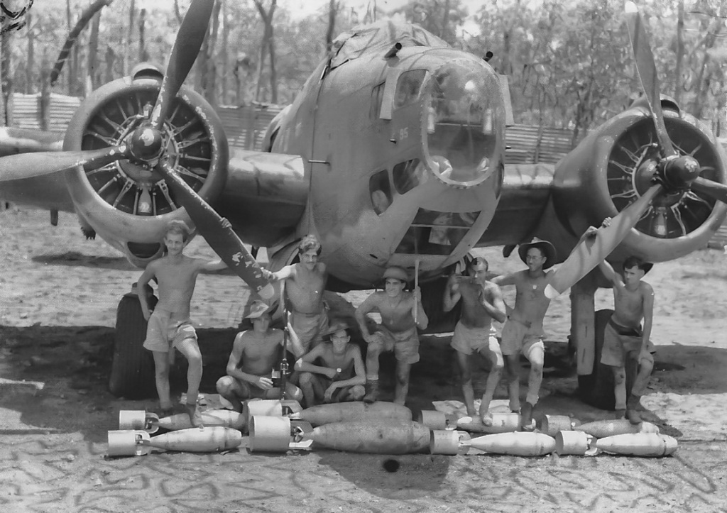2 Sqn Crew and Ground staff in front of their Hudson -at Batchelor October 1942