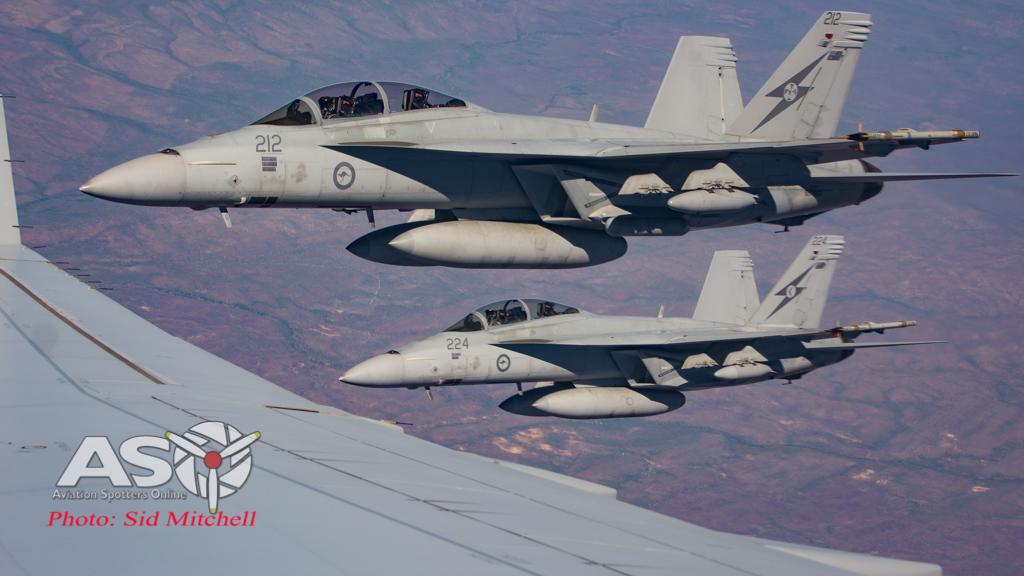 RAAF Super Hornets on KC-30A wingtip