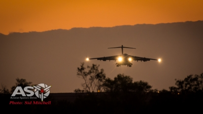RAAF C-17A landing RAAF Darwin