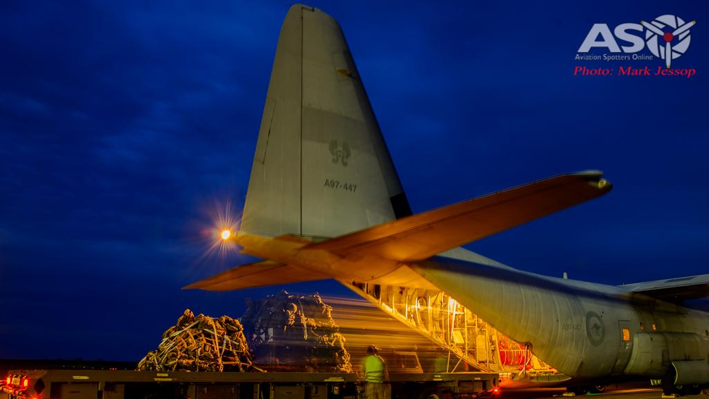 RAAF C-130J-30 A97-447 unloading pallets.