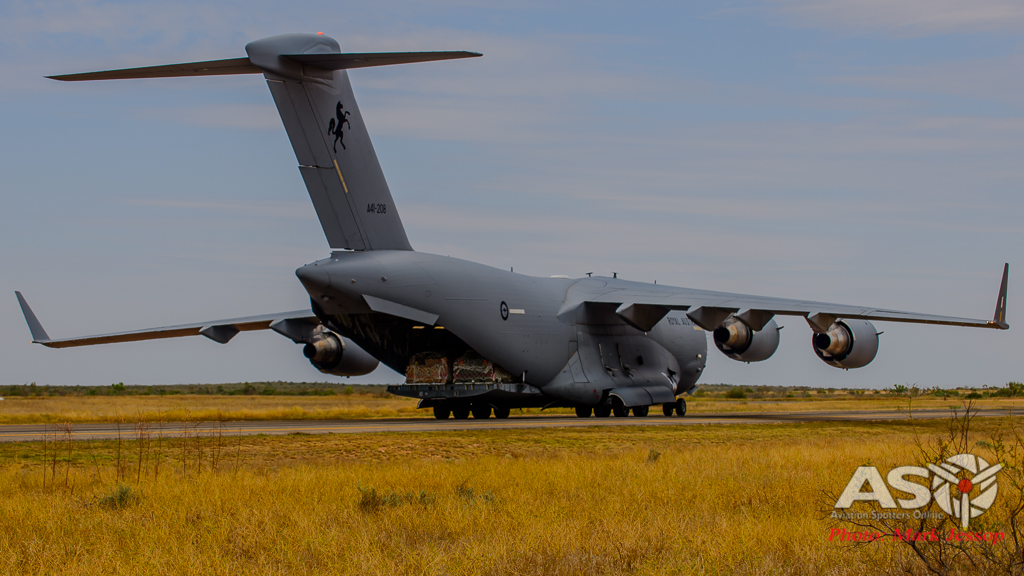 RAAF C-17 A41-208 taxing in with the ramp down ready to unload.