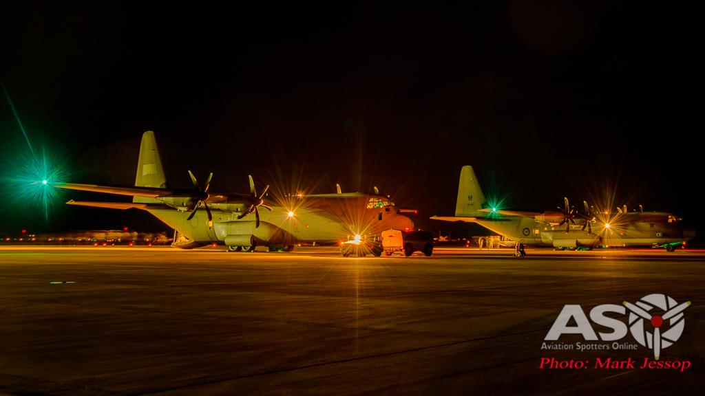 RAAF C-130J-30 A97-447 & A97-466 getting ready to leave.