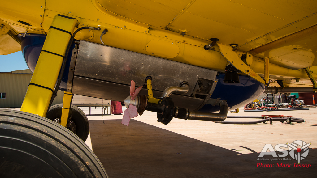 Pays Air Service Fire Fighting aircraft AT-802 Air Tractor close up of water unit.