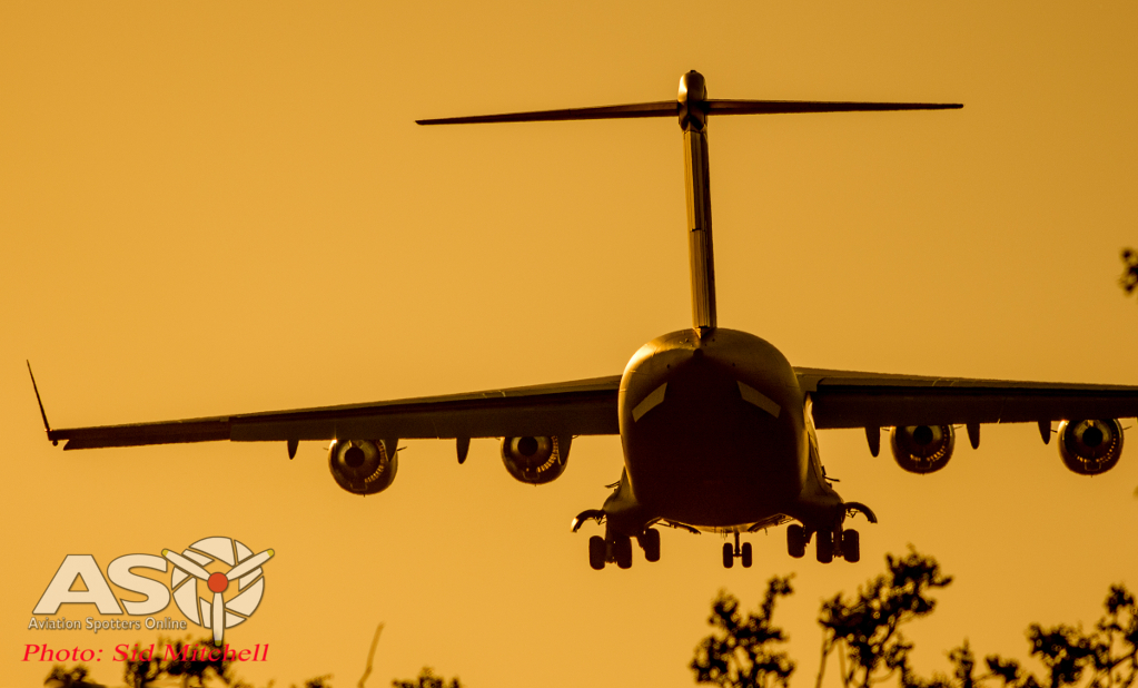 RAAF C-17 landing on sunset