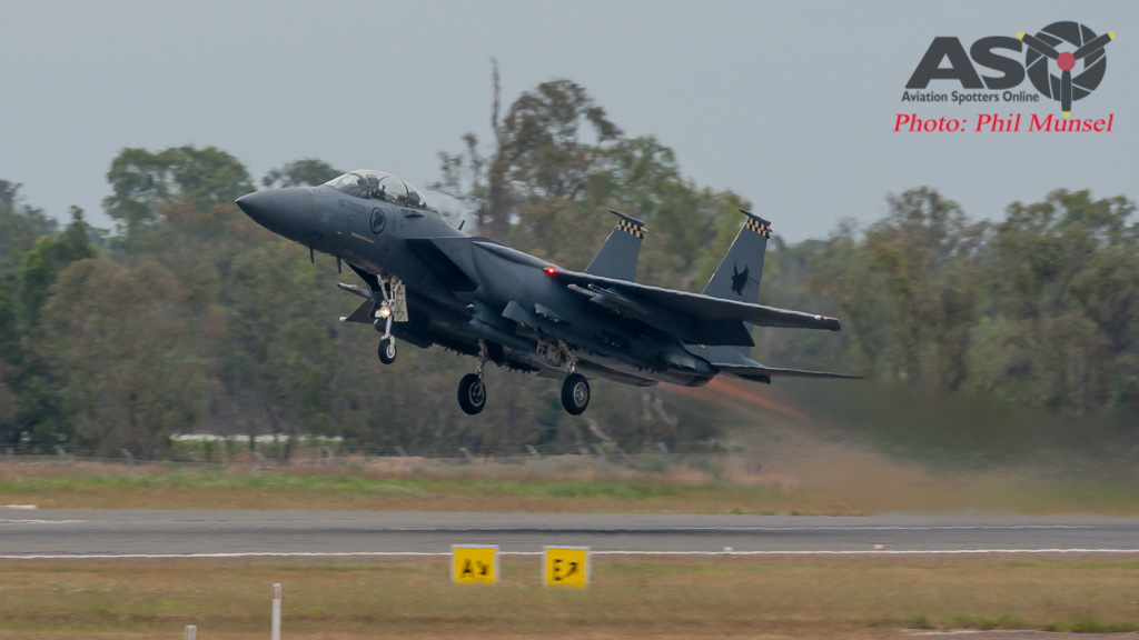 """Shikra"" F-15SG Launching from Rockhampton Airport to transit to SWBTA for another training mission."