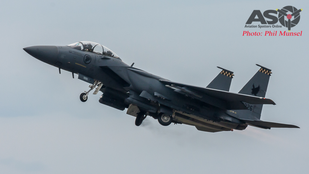 RSAF F-15SG Launches for another afternoon sortie.