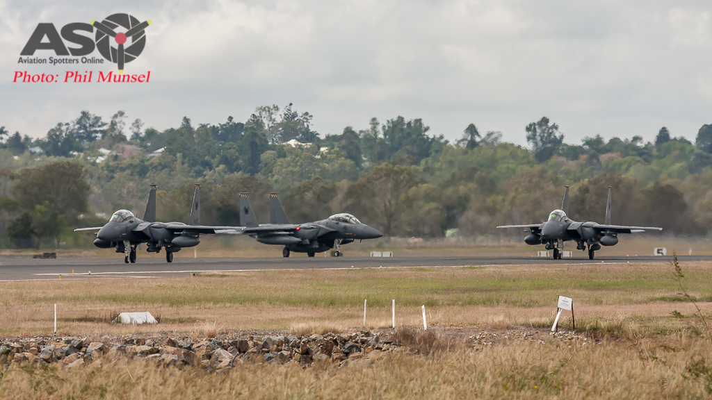 Taxiing for final departure, RSAF F-15SG's start their journey home from Rockhampton - Exercise Wallaby 2016