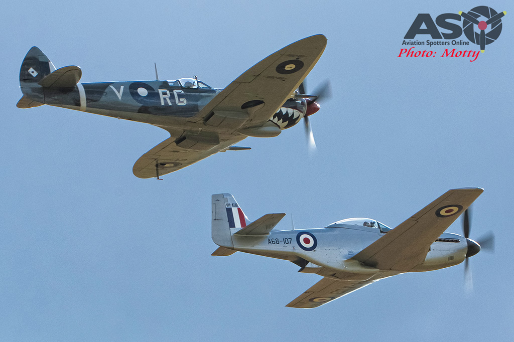 Mottys Flight of the Hurricane Scone 1 1771 Spitfire MkVIII VH-HET & CAC Mustang VH-AUB-001-ASO