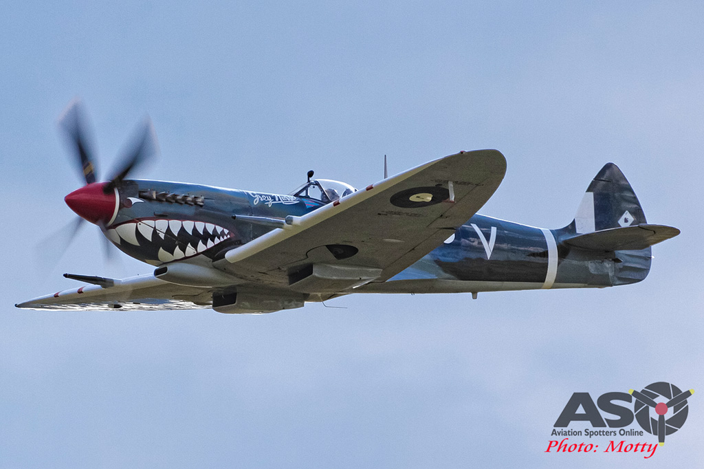 Mottys Flight of the Hurricane Scone 1 1825 Spitfire MkVIII VH-HET-001-ASO