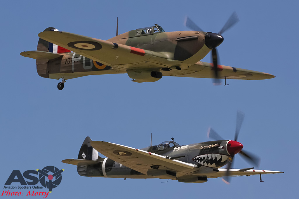 Mottys Flight of the Hurricane Scone 2 5102 Spitfire MkVIII VH-HET & Hurricane VH-JFW-001-ASO