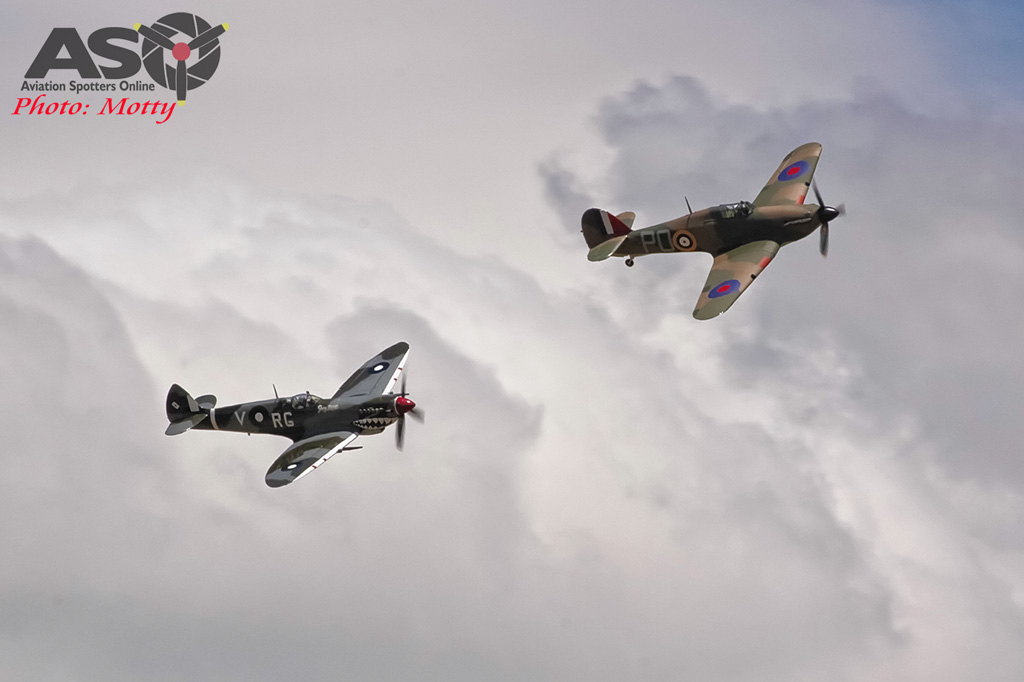 Mottys Flight of the Hurricane Scone 2 5248 Spitfire MkVIII VH-HET & Hurricane VH-JFW-001-ASO