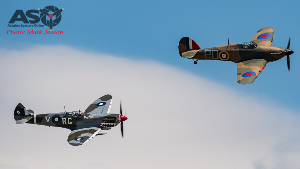 Hurricane and MK.VIII Spitfire in formation.
