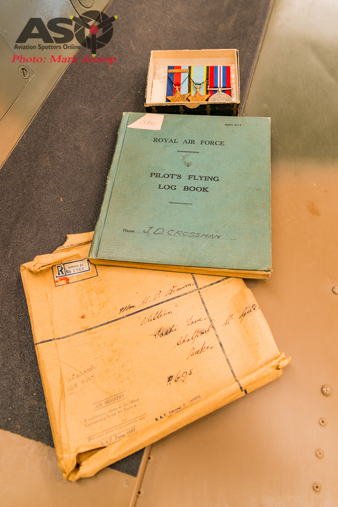 John Crossman's Medals and Fying log book.